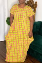 Yellow Casual Print Split Joint O Neck Short Sleeve Dress Dresses