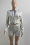 Sky Blue Casual Solid Split Joint Hooded Collar Long Sleeve Two Pieces