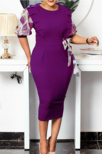 Purple Casual Print Split Joint With Bow O Neck Pencil Skirt Dresses