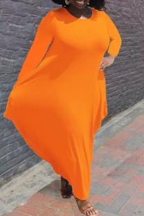 Orange Casual Solid Split Joint Asymmetrical O Neck Irregular Dress Plus Size Dresses