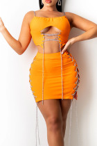Tangerine Red Sexy Solid Hollowed Out Split Joint Chains Asymmetrical Spaghetti Strap Sleeveless Two Pieces