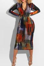 Multicolor Sexy Print Split Joint Zipper Collar Pencil Skirt Dresses