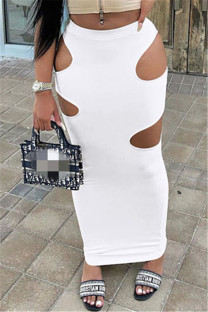 White Sexy Casual Solid Hollowed Out Regular High Waist Skirt