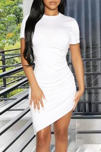 White Casual Solid Split Joint Fold Asymmetrical O Neck Pencil Skirt Dresses