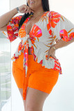 Orange Fashion Casual Print Strap Design V Neck Plus Size Two Pieces