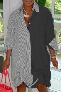Black Casual Striped Split Joint Turndown Collar Shirt Dress Dresses