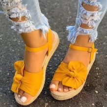 Yellow Casual Hollowed Out Split Joint Opend Out Door Shoes