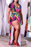Red Blue Sexy Casual Print Slit V Neck Plus Size Two Pieces