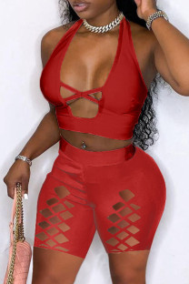 Red Fashion Sexy Solid Hollowed Out Backless Halter Skinny Romper