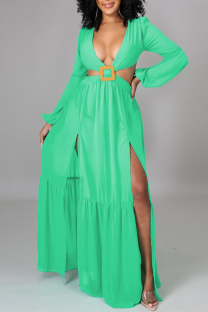 Green Casual Solid Split Joint V Neck Irregular Dress Dresses