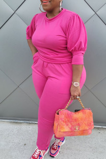 Rose Red Casual Solid Split Joint O Neck Plus Size Two Pieces