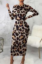 Leopard Print Casual Print Bandage Split Joint V Neck A Line Dresses
