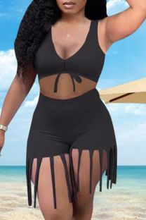 Black Sexy Solid Tassel V Neck Sleeveless Two Pieces