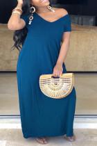 Blue Fashion Casual Plus Size Solid Basic V Neck Short Sleeve Dress