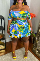 Multi-color Sexy Casual Print Backless Strapless Plus Size Two Pieces