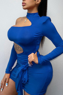 Blue Sexy Solid Bandage Hollowed Out Split Joint Asymmetrical O Neck Pencil Skirt Dresses