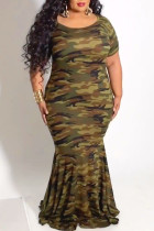 Camouflage Casual Print Camouflage Print Split Joint O Neck Trumpet Mermaid Plus Size Dresses