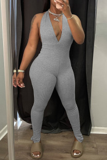 Grey Sexy Solid Backless Halter Straight Jumpsuits