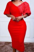 Red Casual Solid Split Joint V Neck Pencil Skirt Dresses