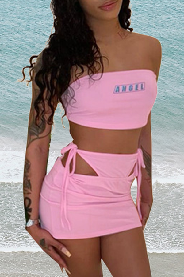 Pink Sexy Print Hollowed Out Letter Strapless Sleeveless Two Pieces