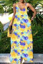 Blue Yellow Sexy Casual Print Backless Spaghetti Strap Long Dress