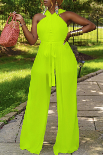 Fluorescent Green Sexy Solid Mesh Halter Straight Jumpsuits