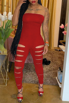 Red Sexy Solid Hollowed Out Strapless Skinny Jumpsuits