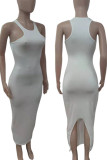 Fluorescent Green Casual Solid Split Joint O Neck Vest Dress Dresses