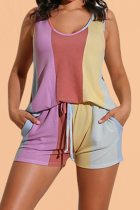 Stripe Casual Color Block Split Joint O Neck Sleeveless Two Pieces