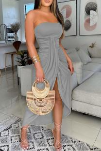 Grey Sexy Print High Opening Strapless Irregular Dress Dresses