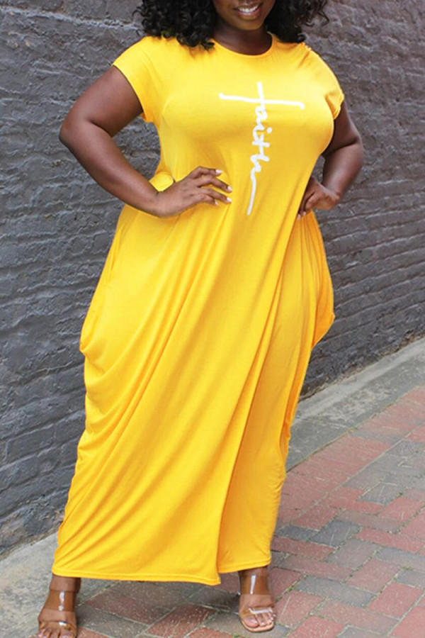 Yellow Casual Print Split Joint Asymmetrical O Neck Short Sleeve Dress Plus Size Dresses