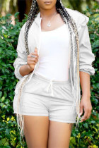 Light Gray Fashion Casual Solid Basic Hooded Collar Long Sleeve Two Pieces
