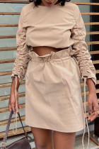 Khaki Fashion Casual Solid Draw String O Neck Long Sleeve Two Pieces