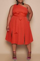 Red Sexy Casual Plus Size Solid Slit One Shoulder Sleeveless Dress