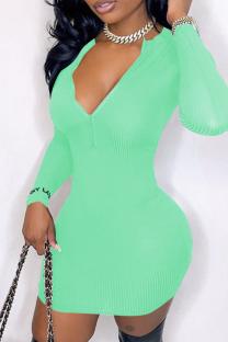 Light Green Casual Solid Split Joint V Neck Pencil Skirt Dresses