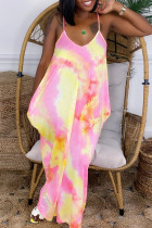 Yellow Fashion Sexy Tie Dye Printing Spaghetti Strap Sleeveless Dress