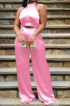 Pink Elegant Solid Bandage Split Joint Halter Sleeveless Two Pieces