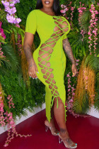 Green Fashion Sexy Solid Bandage Hollowed Out O Neck Short Sleeve Dress