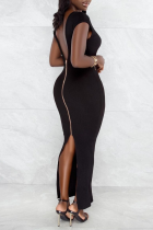 Black Sexy Solid High Opening Zipper U Neck Pencil Skirt Dresses