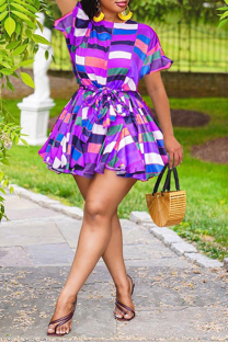 Purple Sexy Print Split Joint O Neck Cake Skirt Plus Size Dresses