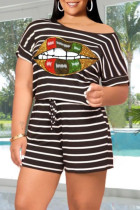 Black Casual Striped Print O Neck Short Sleeve Two Pieces