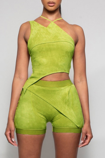 Green Sexy Solid Split Joint Halter Sleeveless Two Pieces