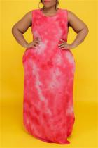 Red Fashion Casual Plus Size Print Tie Dye O Neck Vest Dress