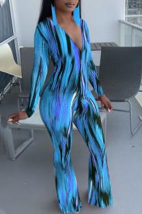 Blue Casual Print Split Joint V Neck Boot Cut Jumpsuits