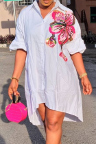 White Casual Print Turndown Collar Shirt Dress Plus Size Dresses