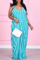 Sky Blue Casual Striped Split Joint Spaghetti Strap Straight Plus Size Dresses