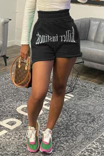 Black Fashion Casual Print Basic Regular High Waist Shorts
