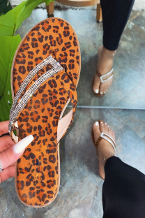 Leopard Print Sexy Street Hollowed Out Split Joint Hot Drill Opend Out Door Shoes