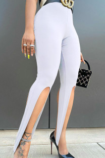 White Sexy Solid Split Joint Asymmetrical Skinny High Waist Pencil Solid Color Bottoms
