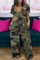 Green Fashion Casual Print Basic V Neck Short Sleeve Regular Jumpsuits